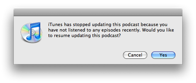 Resume updating podcasts in iTunes