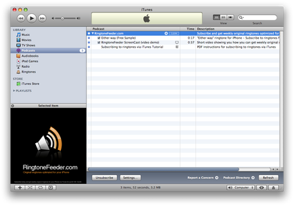 iTunes loading up RingtoneFeeder content