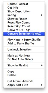 Convert songs to AAC